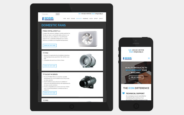 Website for Icon Building Products