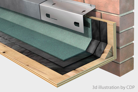 Technical illustration of flat roof and abutment